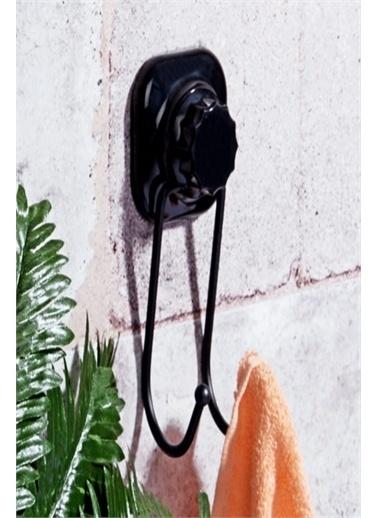 Else Halı Siyah Mat Yapışkanlı 2Li Banyo Mutfak Havlu Askısı Renkli